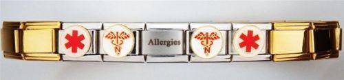 Allergies-Medical-Laser-Alert-Italian-Charm-Bracelet-Gold-Free-Medical-ID-Card