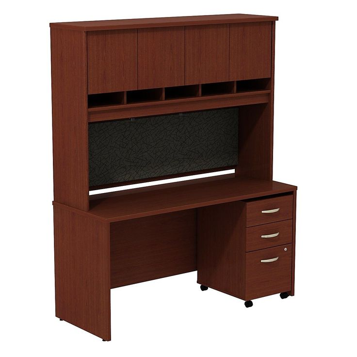 Series C Desk/Credenza Shell with 4 Doors Hutch and 3 Drawers Mobile Pedestal