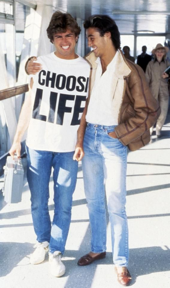 George Michael and Andrew Ridgeley Wham at London Heathrow Airport during their heyday as pop heartthrobs