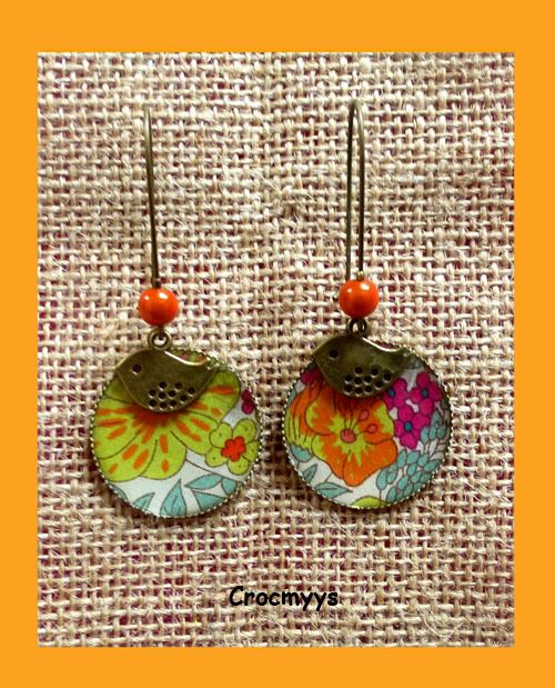Grandes boucles d'oreilles liberty meadow orange : Boucles d'oreille par crocmyys