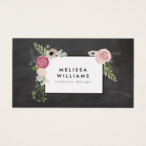 100 best cosmetologist business cards images on pinterest makeup vintage modern floral motif on chalkboard designer business card reheart Image collections