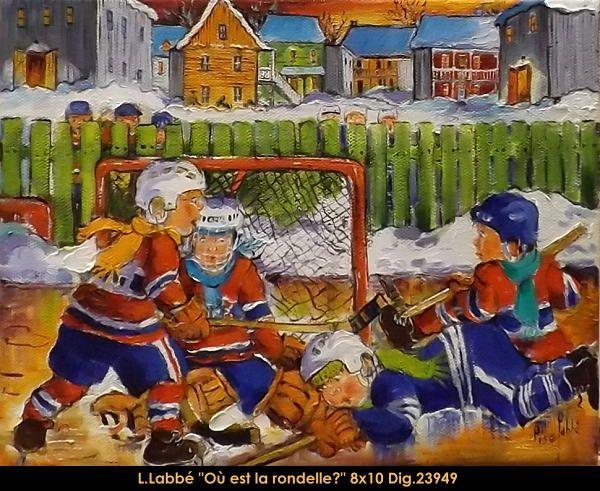 Original oil on canvas painting by Lise Labbé #labbe #artnaif #kidscharacters #winter #hockey #canadianartist #quebecartist #originalpainting #balcondart #multiartltee