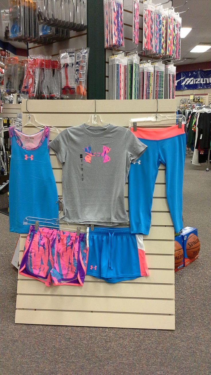 Youth girls' Under Armour clothing, girls' blue Under Amour, Under Amour tank top, girls' Under Amour shorts