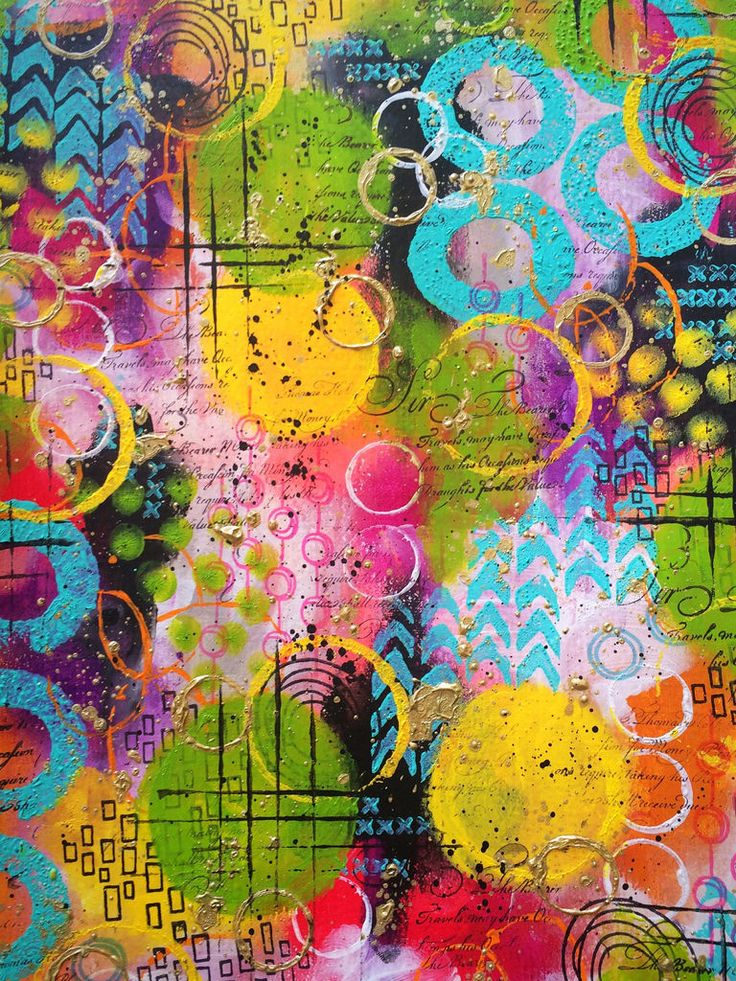 As cores de tinta de Dina Wakley são impressionantes. Página de fundo do jornal de arte   – abstract