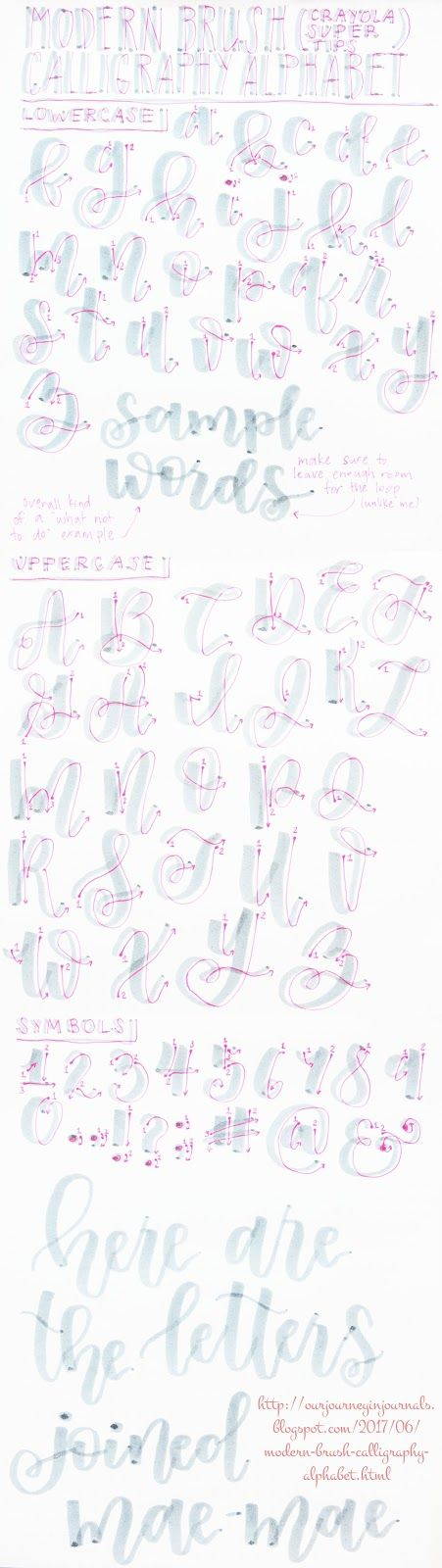 alphabet for modern brush calligraphy (specifically bounce lettering)