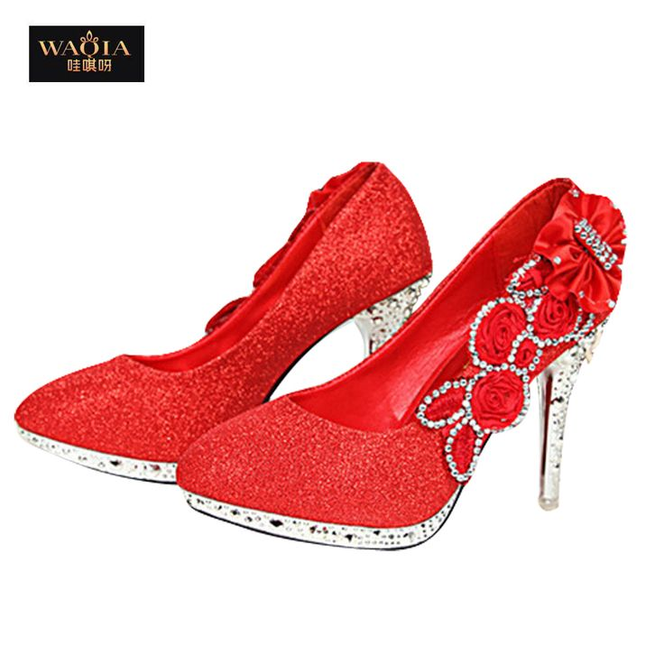 Cheap silver ballet flat shoes, Buy Quality shoe free directly from China silver platform bridal shoes Suppliers:      2015NEW Brand 10CM High-Heeled Pumps Women Girl Wedding Bride Shoes Glitter Fake Crystal Rose Flower Evening