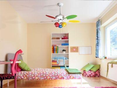 Colore, un ventilateur de plafond signé KlassFan accepte une telecommande et un prolongateur, un ventilateur pour chambre d'enfant.