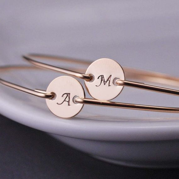 Personalized Initial Jewelry TWO Custom Bangle Bracelets for Mothers or Bridesmaid Gifts by georgiedesigns