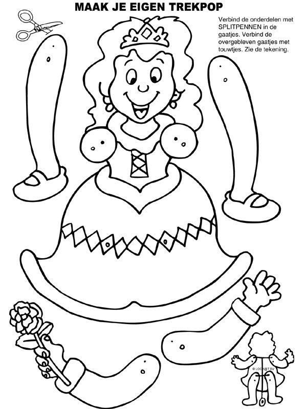 Kleurplaat Trekpop Prinsessenfeest verjaardag - Kleurplaten.nl