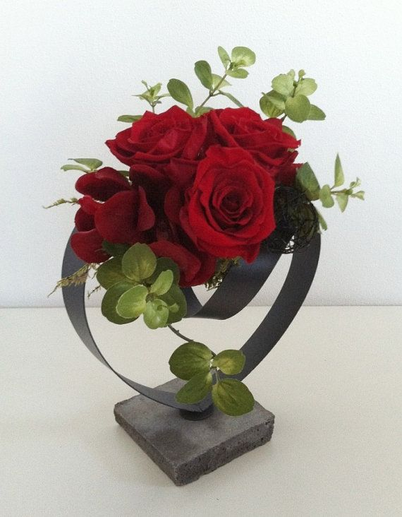 Valentine's Day Floral Arrangement  Red Roses by ArtsFloralDesign,
