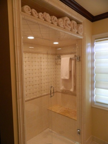 Stand up Shower - Genius Towel Storage; I would put the towels on the side if I couldn't do above.