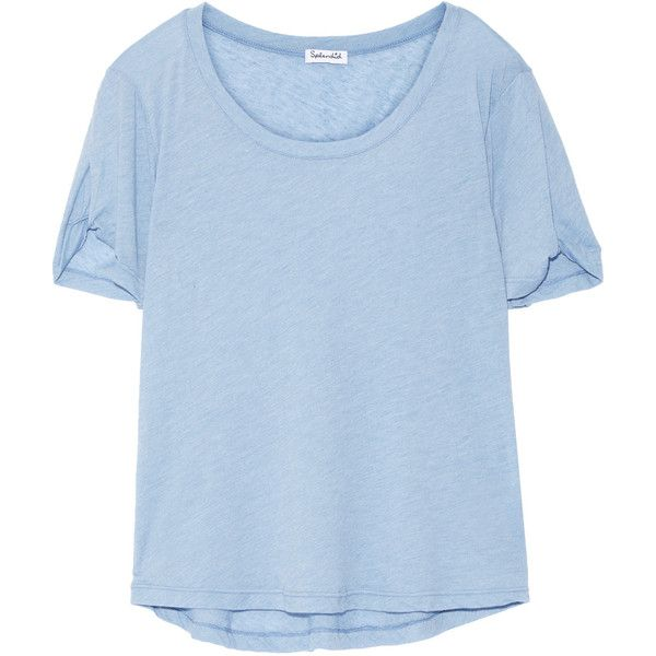 Splendid Stretch-jersey T-shirt found on Polyvore featuring tops, t-shirts, shirts, light blue, blue t shirt, blue shirt, loose fit t shirts, lightweight t shirts and light blue top