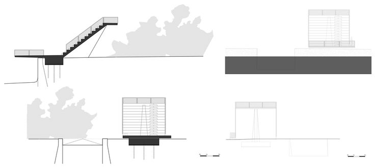 Alzados y secciones. Teatro al aire libre en Rio de Moinhos. Cortesía de Ateliermob. Señala encima de la imagen para verla más grande.