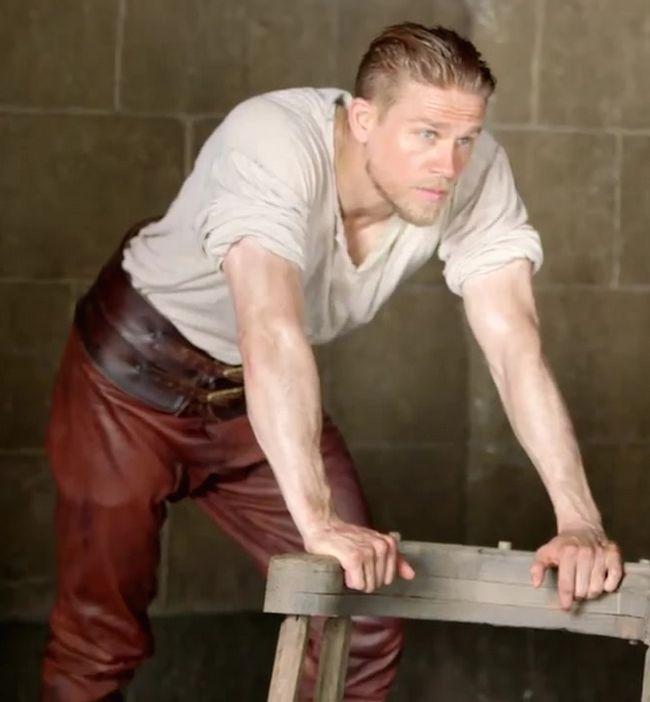 "mynewplaidpants: ""Charlie Hunnam in his King Arthur pants – MORE HERE """
