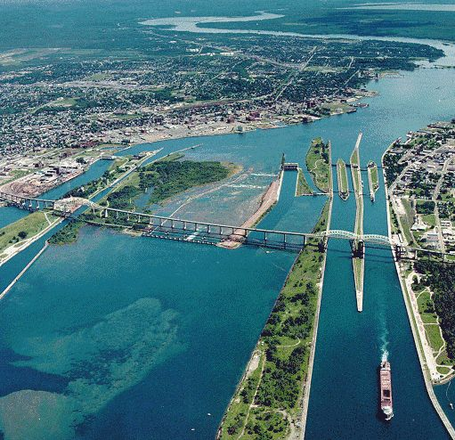 Soo Locks-Sault-Ste Marie, Michigan - Sault Ste. Marie International Bridge