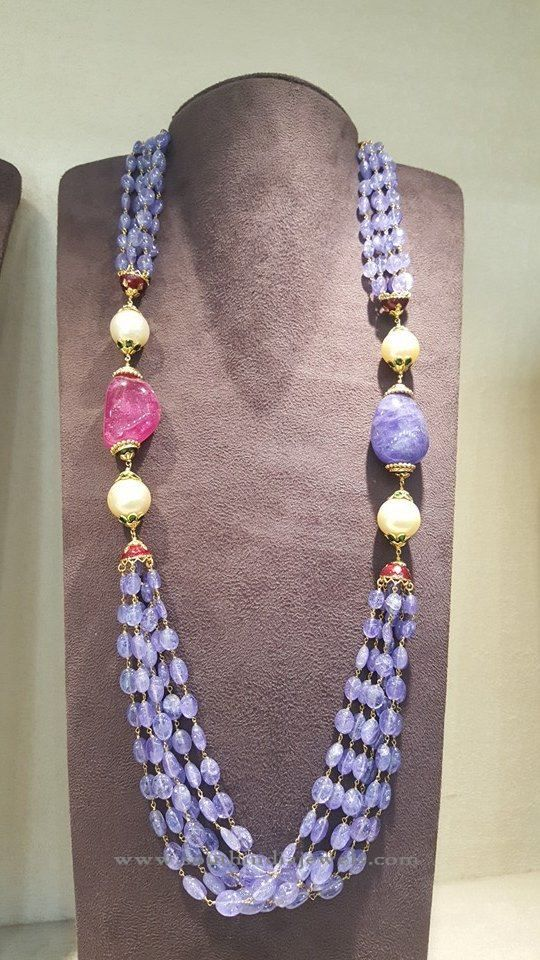 Gold Beads Mala, Gold Blue Beads Mala, Gold Multilayer Beads Mala Necklace.