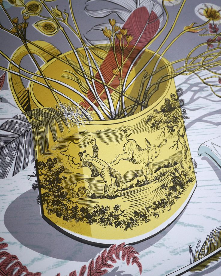 Angie Lewin 'The Yellow Cup' screen print (detail) http://www.angielewin.co.uk/products/the-yellow-cup