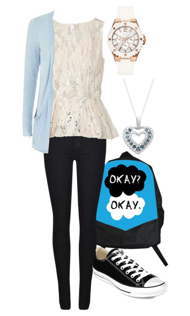 Today's Outfit by rhythmicgoofyworm on Polyvore featuring Elie Saab, Dr. Denim, Converse, GUESS and Dolce Giavonna