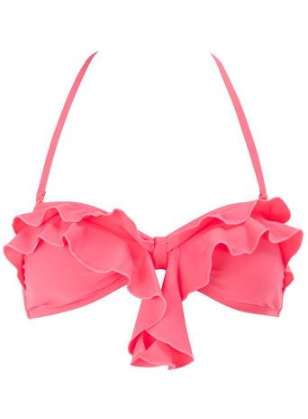 pink ruffle bandeau bikini top