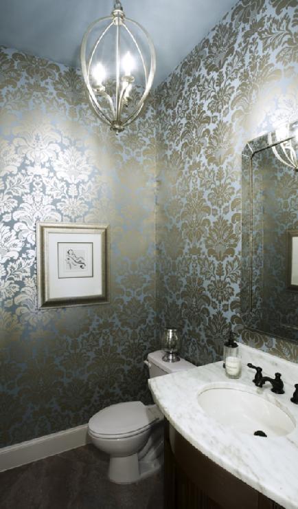 Blue Metallic Damask Wallpaper Bathrooms Pinterest