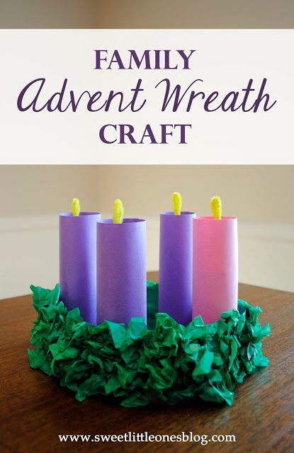 Family Advent Wreath Craft - Celebrate and prepare for Advent and Christmas together as a family by making this fun craft with your kids (complete with retractable flames!). Links to daily prayers and devotions included! - www.sweetlittleonesblog.com