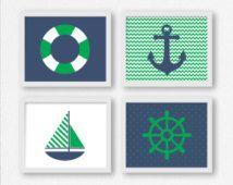 Zeilen afdrukken: Zeilboot, wiel, anker en Life Saver Preppy blauw en groen afdrukbare Wall Art, nautische kwekerij, Kid's kamer Decor