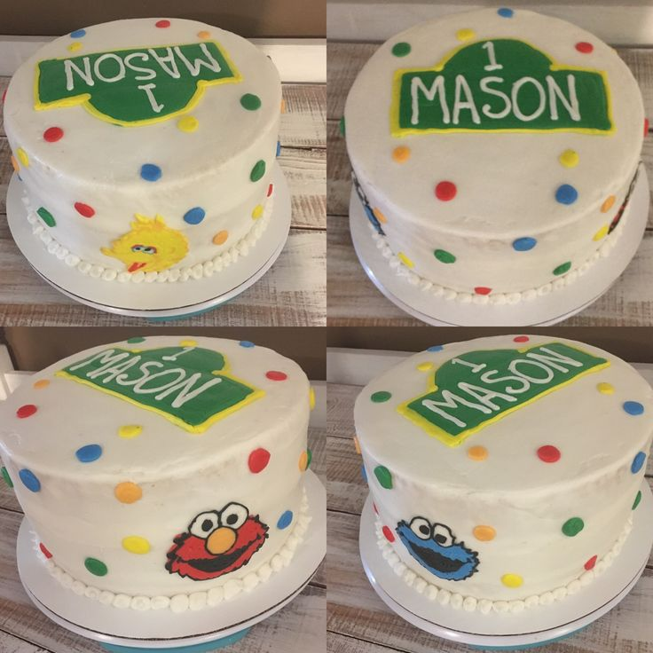Sesame Street first birthday cake! Big Bird, Elmo, and Cookie Monster! #nofondant #alltheangles