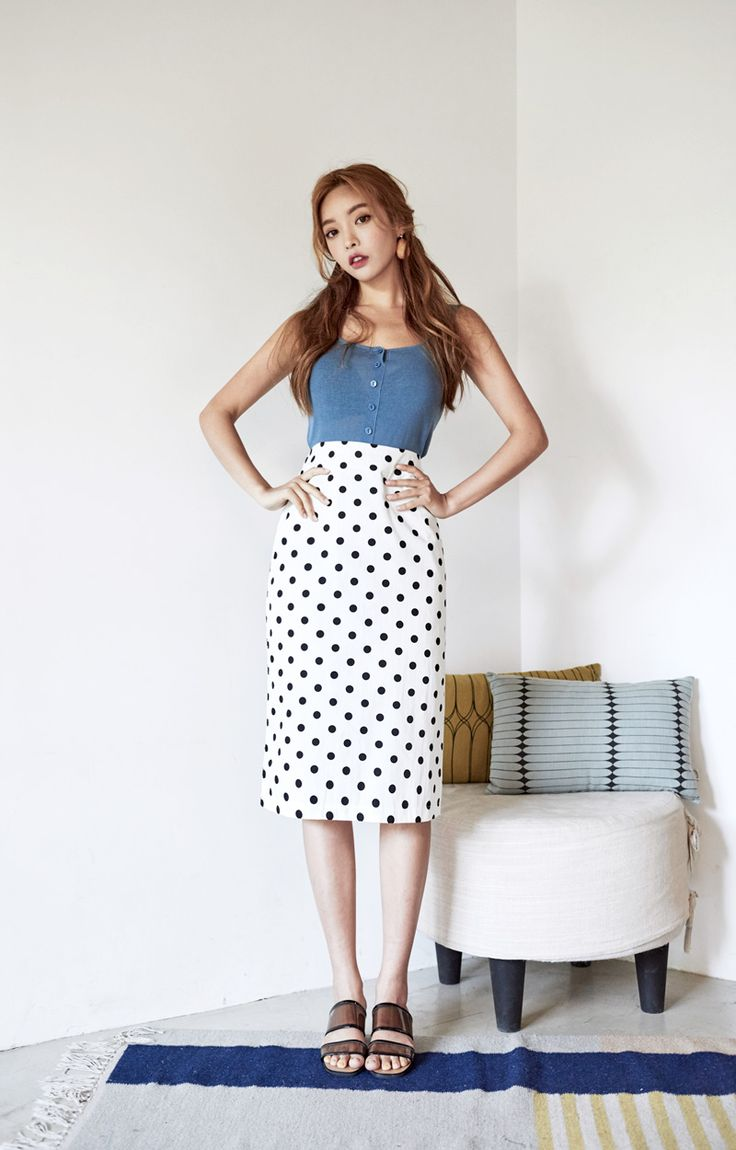 Polka Dot Midi Pencil Skirt CHLO.D.MANON | #polkadot #skirt #koreanfashion #kstyle #kfashion #seoul #dailylook #summertrend #cute #sweet #feminine