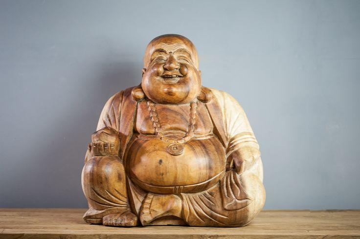 Statue design - Statue Bouddha rieur en suar 40 cm naturel