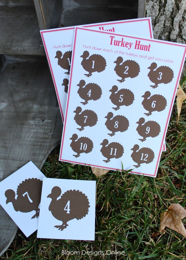 What better game on Thanksgiving then a Turkey Hunt? I love doing scavenger hunts on holidays and at parties. They are great for kids of all ages. Download the game card and pieces here- http://bloomdesignsonline.com