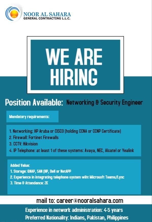 Network Security Engineers Uae Job Openings Job Opening Network Security Networking