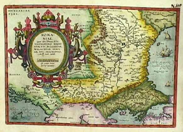 "antique 1584 map romania -  Romania, Bulgaria & Serbia (Romaniae…), Ortelius, Antwerp, 1584. 19.7 x 14.2"". (FC) Stunning map of the classical region of Thrace, encompassing the southern Balkans from the Sea of Marmara to the Bosphorus with most of present-day Bulgaria and Romania up the western shore of the Black Sea to the mouth of the Danube River. Ortelius based the map, in part, on the work of Jacob Gastaldi. Beautifully decorated with an elaborate title cartouches, ships and"