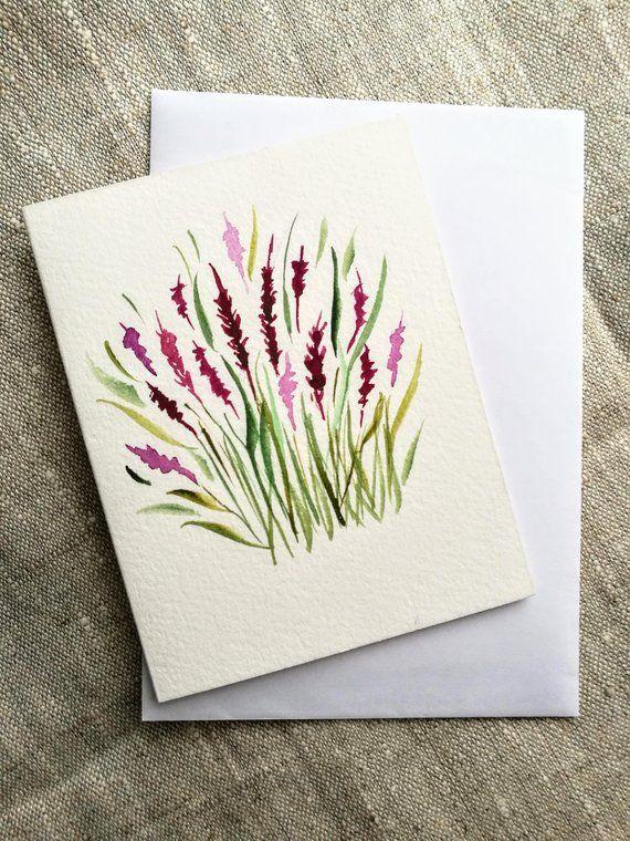 flower lavender watercolor greeting card handmade    hand