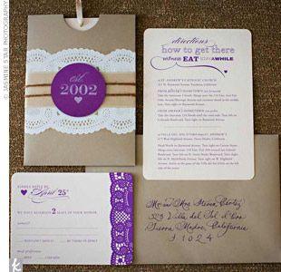 Vintage Purple Wedding Invitations
