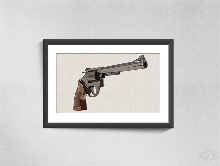 A vectorized print of Magnum handgun.  Can be bought in different formats/sizes. From A5 to A0.  © copyright/all rights reserved to Mojostore™ and Mojo Art & Design.