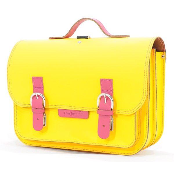 #OwnStuff lederen #boekentas 38cm - geel - fuchsia #yellow #satchel #schoolbag #Schulranzen #backtoschool #littlethingz2