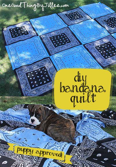This DIY Bandana Quilt would make a great PicNic tablecloth, not to mintion other outside uses.  I think I'd go for the Red, White and Blue look though.