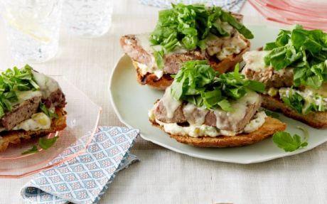 Tuna on Toast with Rocket and Gherkin Mayonnaise Recipe by Giada De Laurentiis