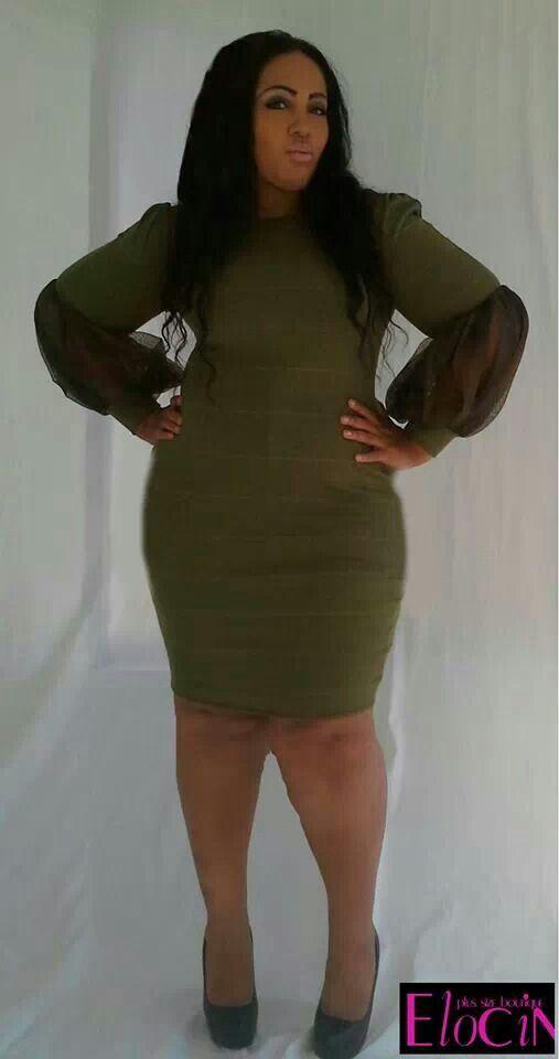 Curvy fashion: green skinny dress #plus size BBW sexy ...