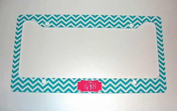 Custom License Plate Frame Chevron by ColleyvineDesign on Etsy, $18.00