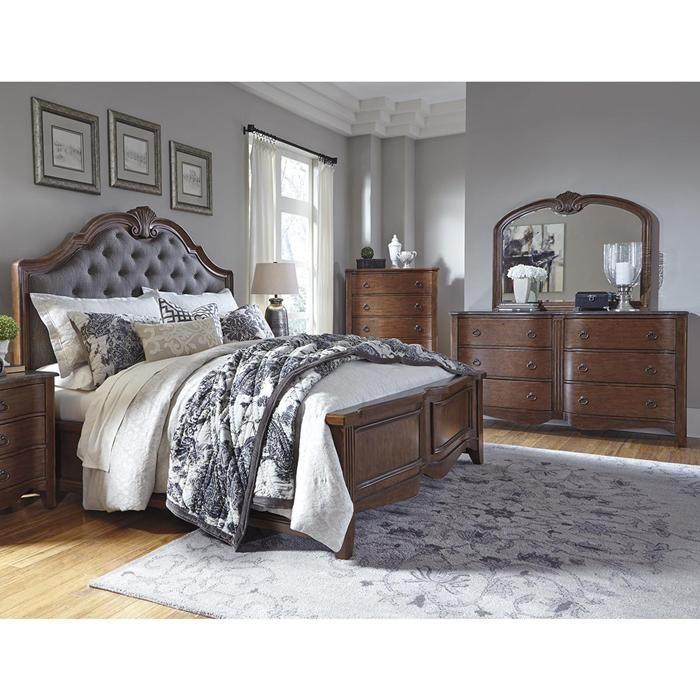 Balinder 4 Piece King Panel Bedroom Set In Medium Brown