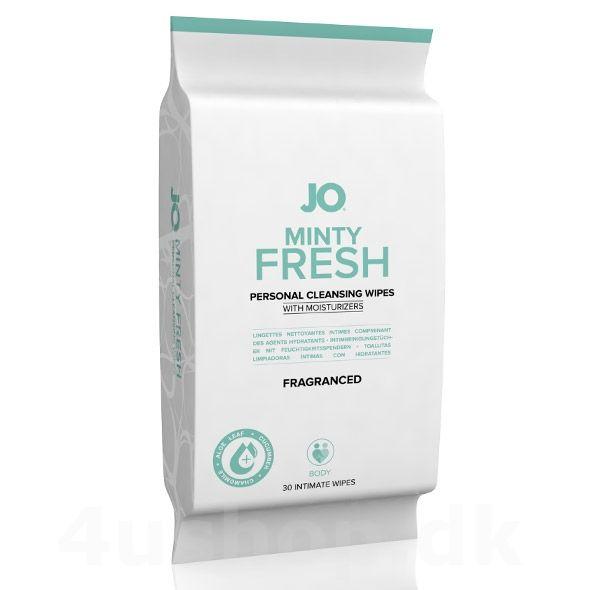 JO Minty Fresh vådservietter - 30 stk - Med duft - få en frisk dejlig duftende krop efter træning, efter sex eller før sex - tør dig hurtigt af når du har behov for det og duft frisk og dejlig. #cleaner #mintyfresh #systemjo #hygiejne