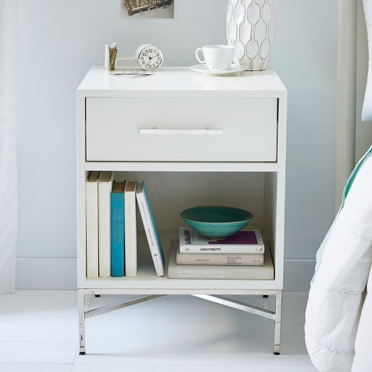 City Storage Nightstand - White Lacquer | West Elm - 20w x 18d x 26h
