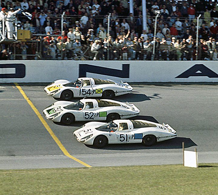 The Porsche 1-2-3 finish at the 1968 24 Hours of Daytona.