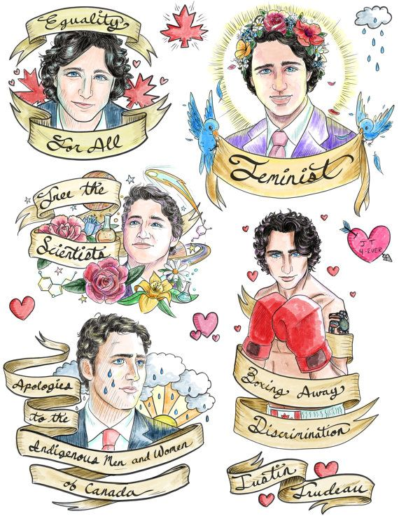 Justin Trudeau Temporary Tattoos by ArtistNicoleLapointe on Etsy