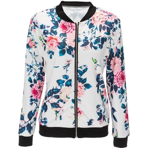 Doris Women's Lightweight Zip-Up Floral Print Bomber Jacket ($19) ❤ liked on Polyvore featuring outerwear, jackets, floral print jacket, quilted jacket, zip up jackets, quilted bomber jacket and flower print bomber jacket