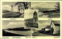 Dunabogdány; Kálvária; Látkép; Duna-részlet; Róm. kat. templom; Utcarészlet