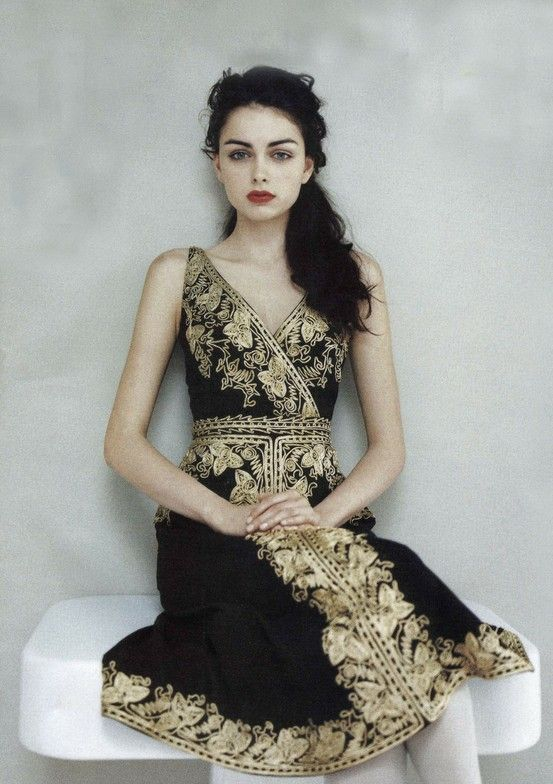 Black and gold dress.
