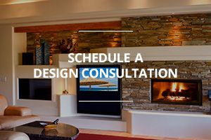 Schedule a free in-home custom home entertainment center promo graphic