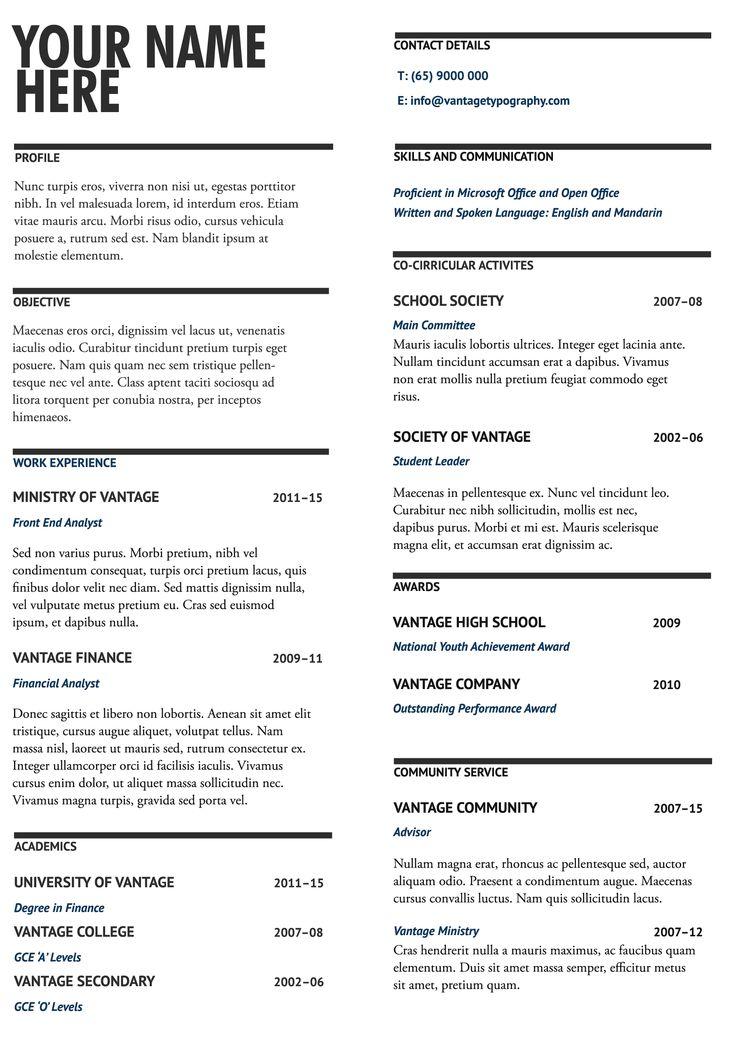 Black and blue. Resume template design #06. Make it concise, make it impactful. #resume #resumeideas #resumetemplate #resumedesign #resumewriting #vantagetypography